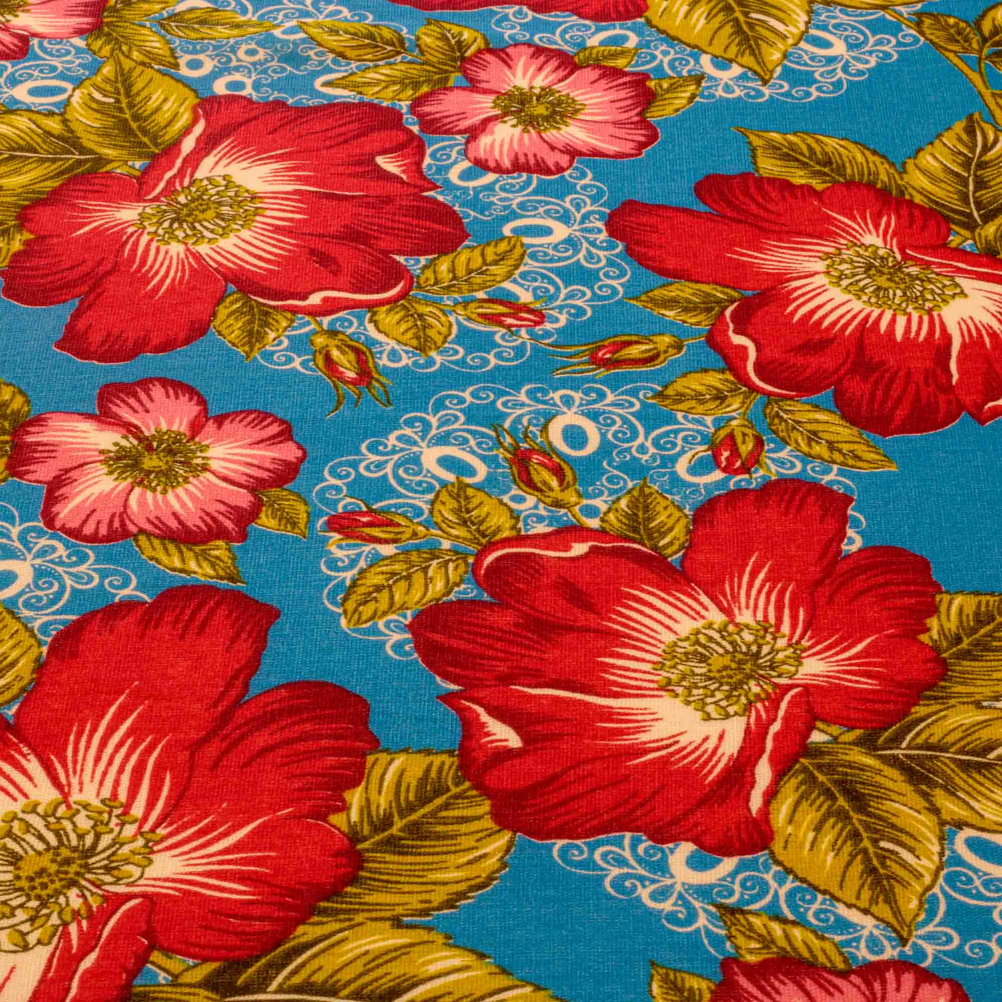 Tecido Chitão Estampado Flores Vermelhas e Rosa 100% Algodão
