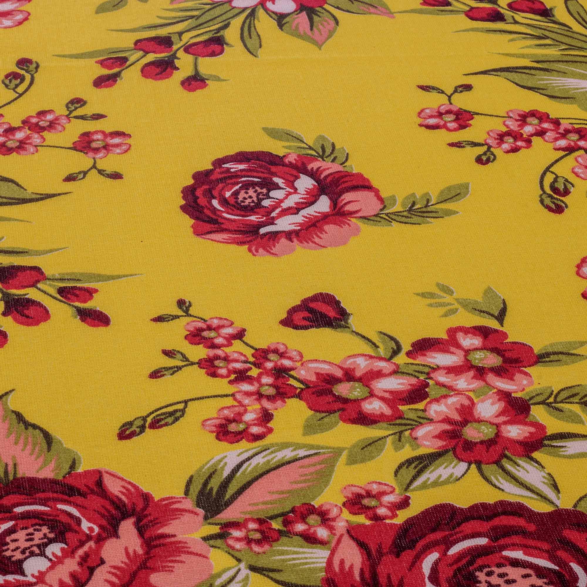 Tecido Chitão Estampado Rosas Vermelhas 100% Algodão Amarelo