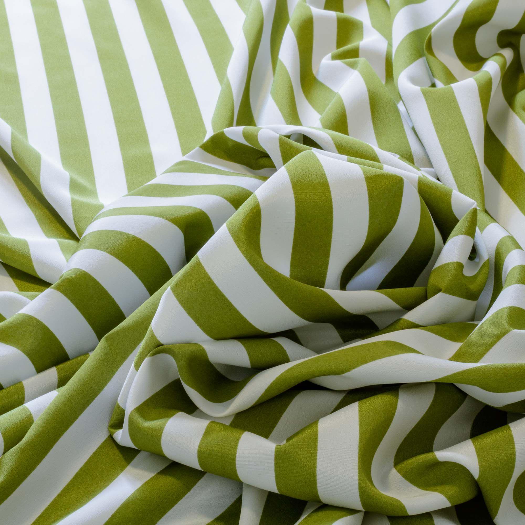 Tecido Crepe de Seda Listrado Verde 100% Poliester 1,50 m Largura