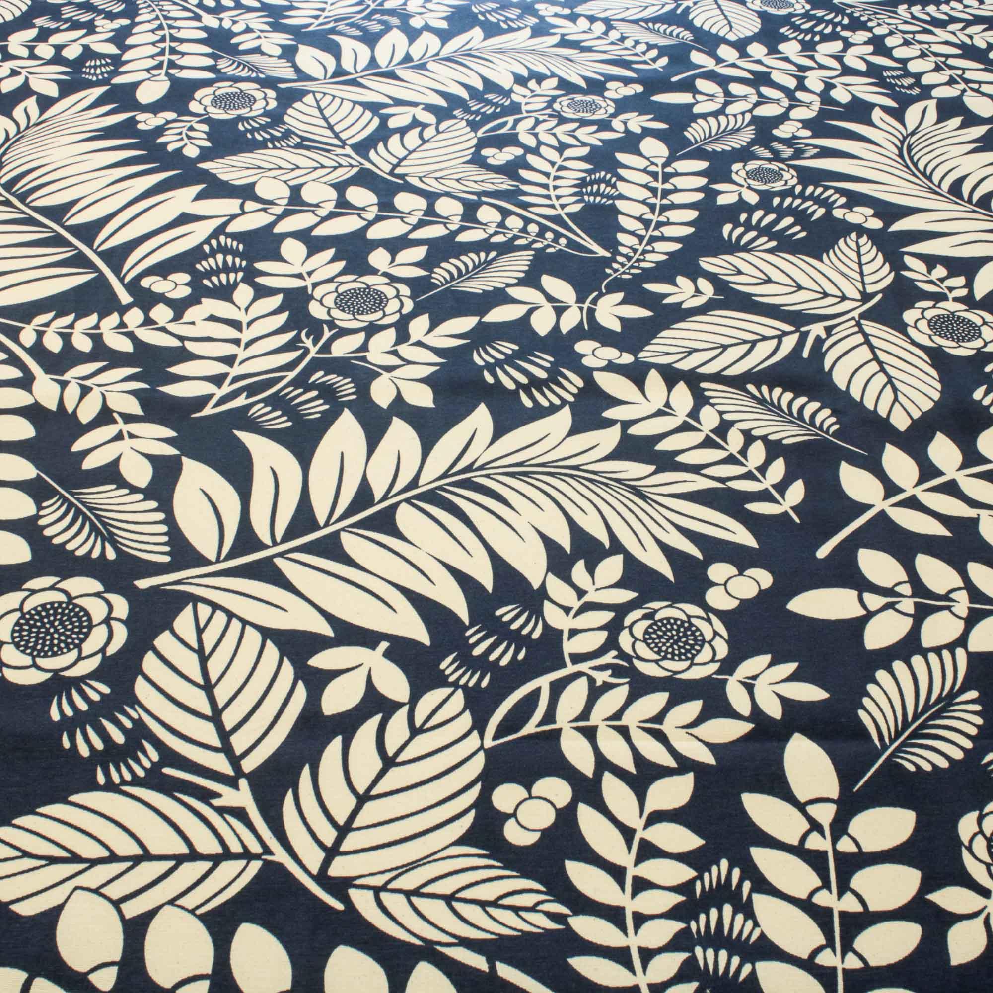 Tecido Decoração Estampado Folhas 1,42 Mt Largura Marinho