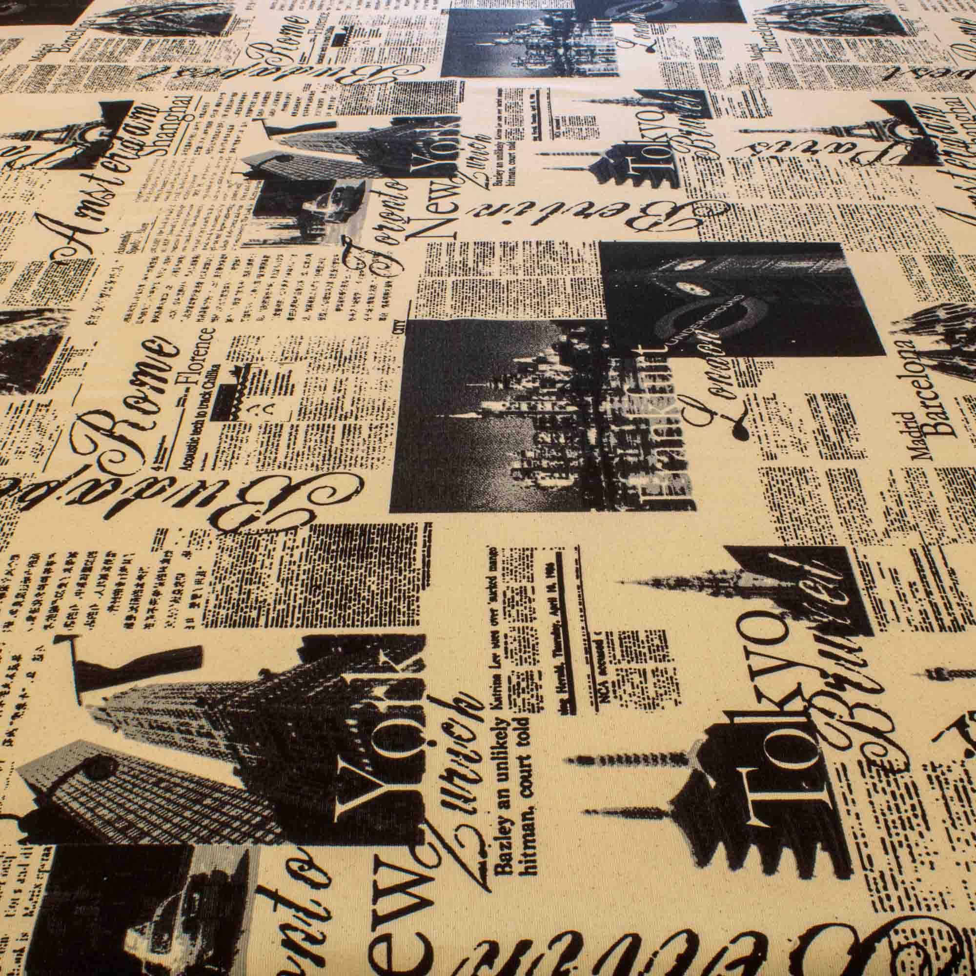 Tecido Decoração Impermeável Estampado Jornal 1,40 Mt Largura Paris