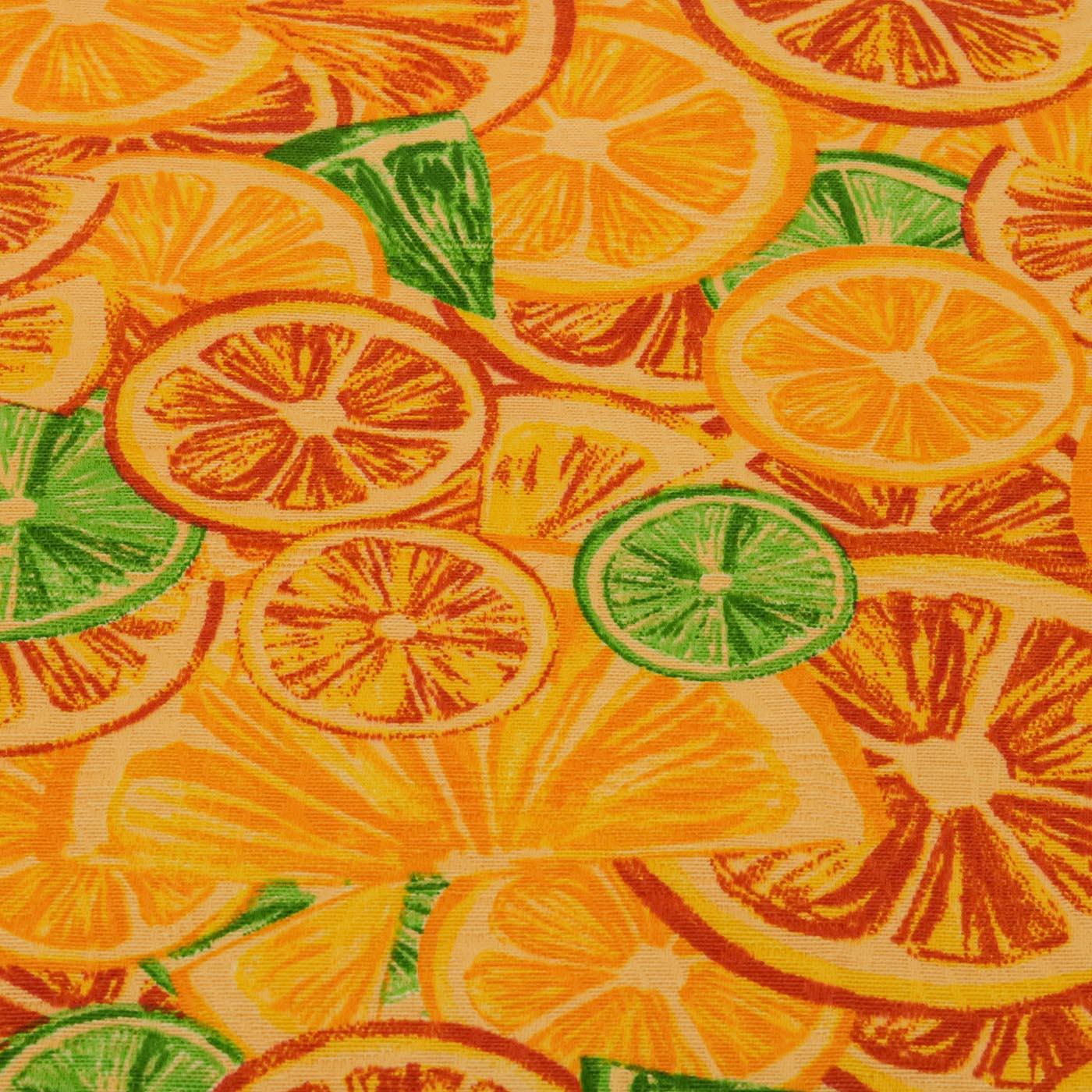 Tecido Decoração Jacquard Estampado Frutas Laranja Com Limão