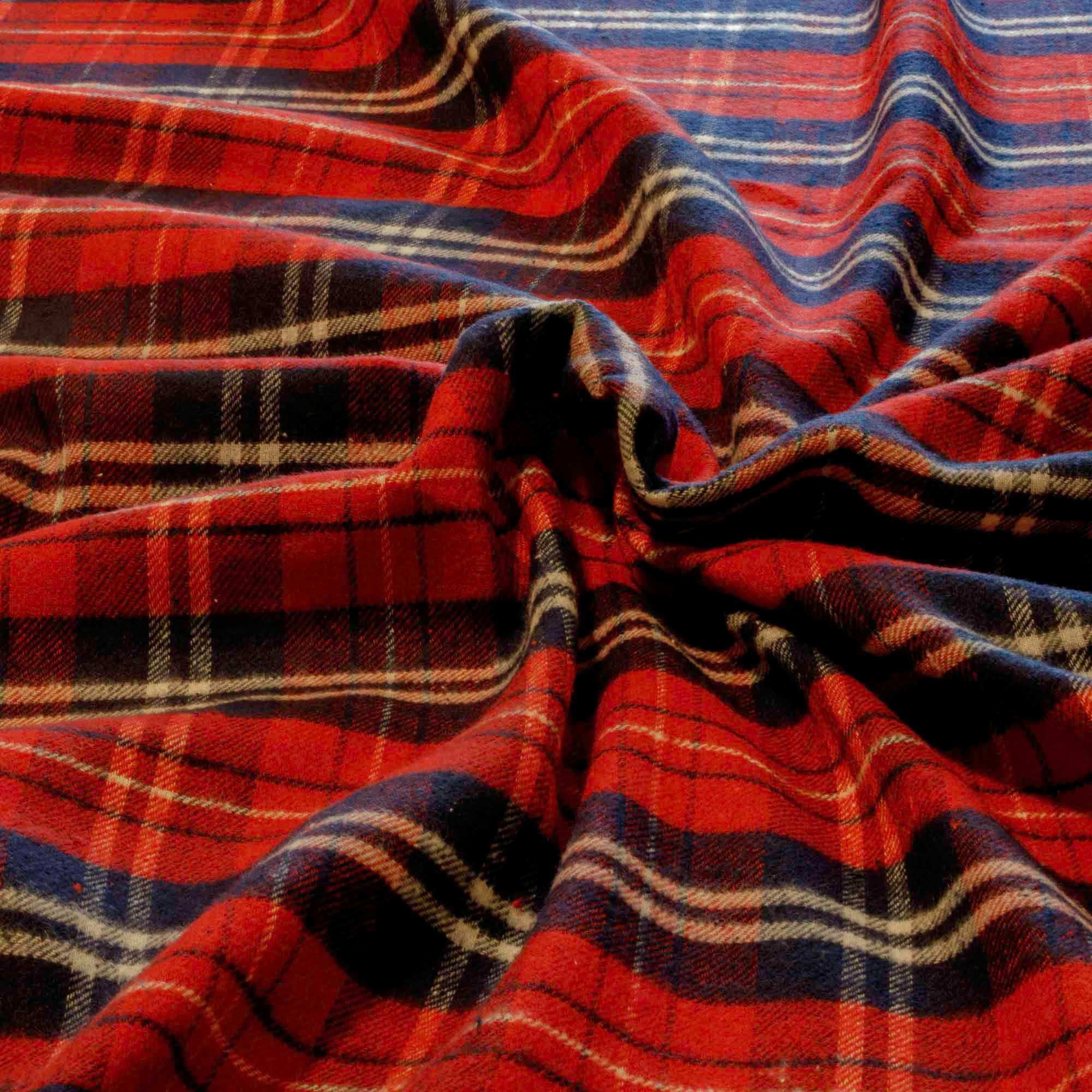 Tecido Flanela Xadrez 100% Algodão 1,60 Mt Largura Vermelha