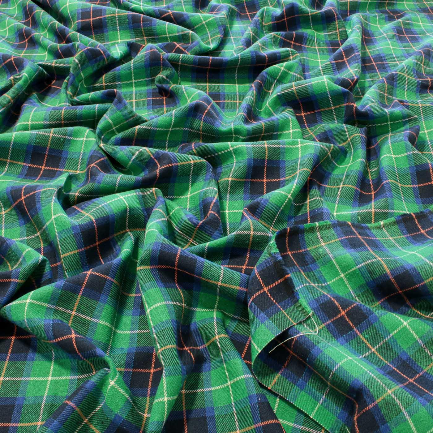 Tecido Flanela Xadrez Verde e Azul Royal Estampada Felpudo
