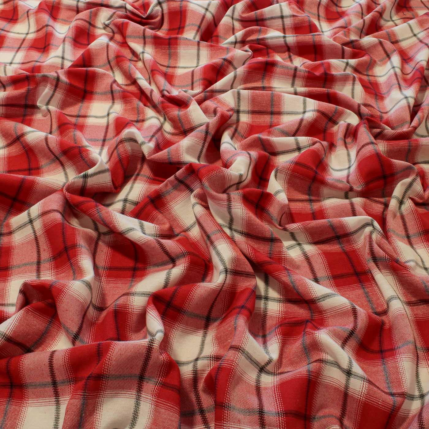 Tecido Flanela Xadrez Vermelho /Cd 50% Algodão 50% Poliéster