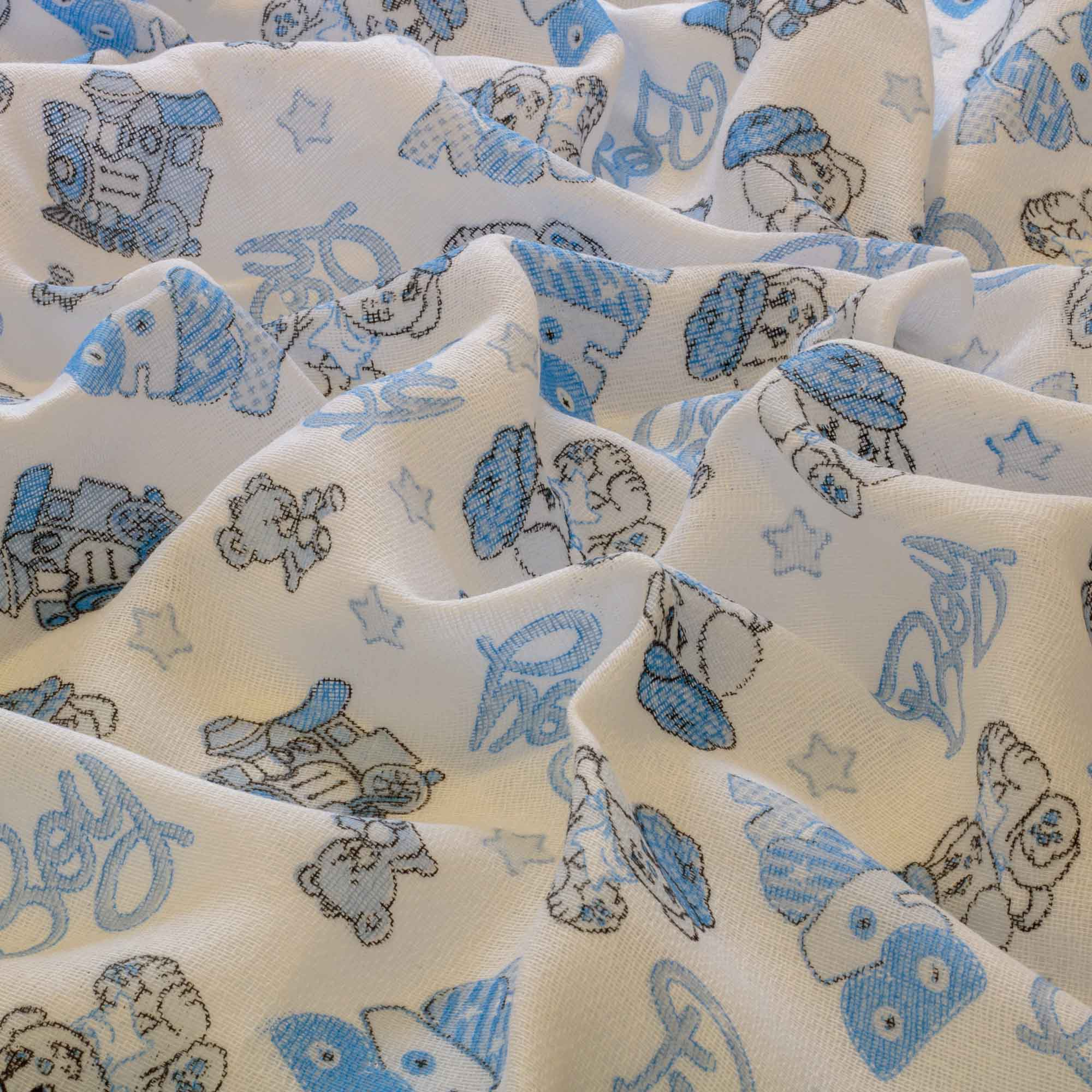 Tecido fralda de pano dohler estampada 70x70 cm 100% algodão azul