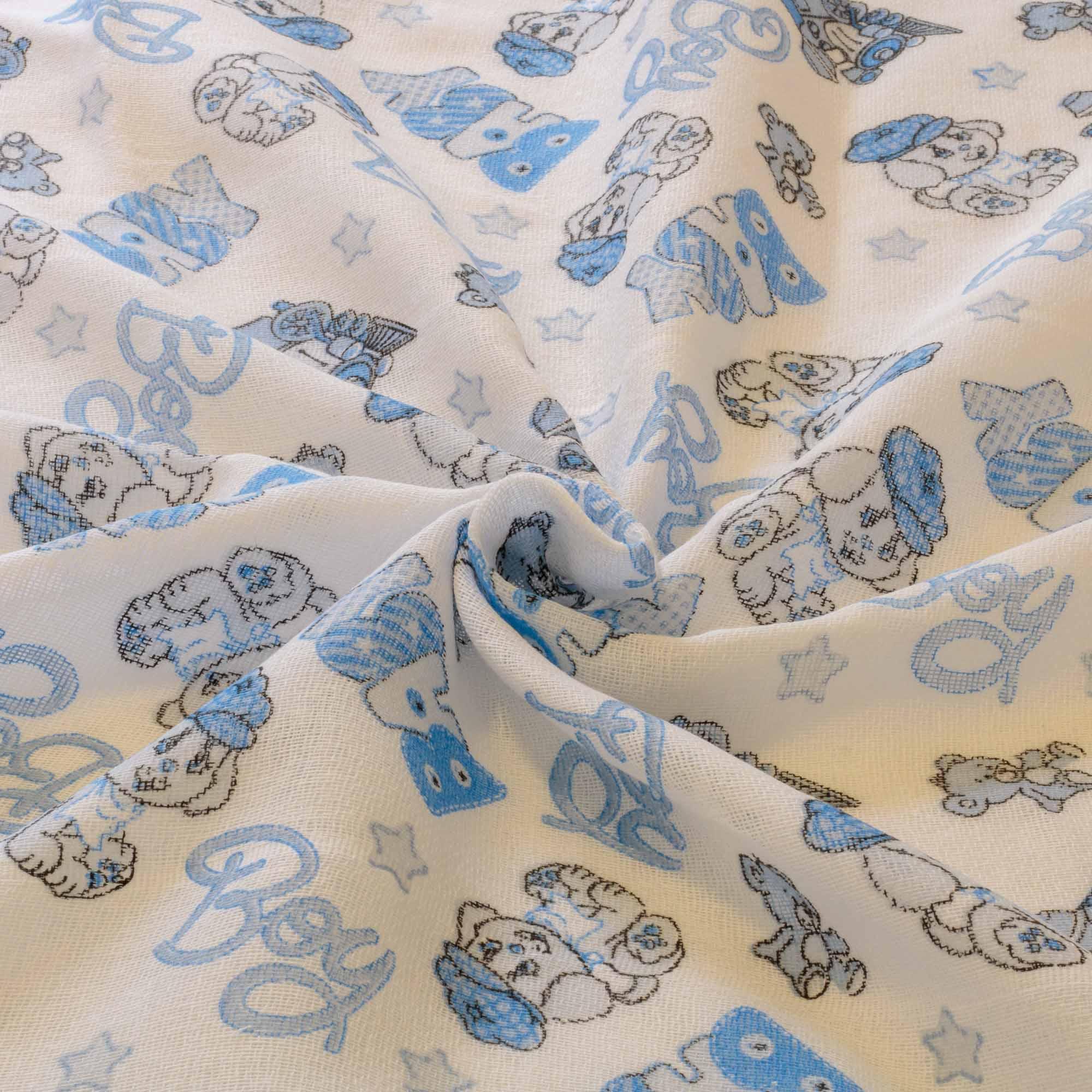Tecido fralda dupla dohler estampada 70x70 cm 100% algodão azul
