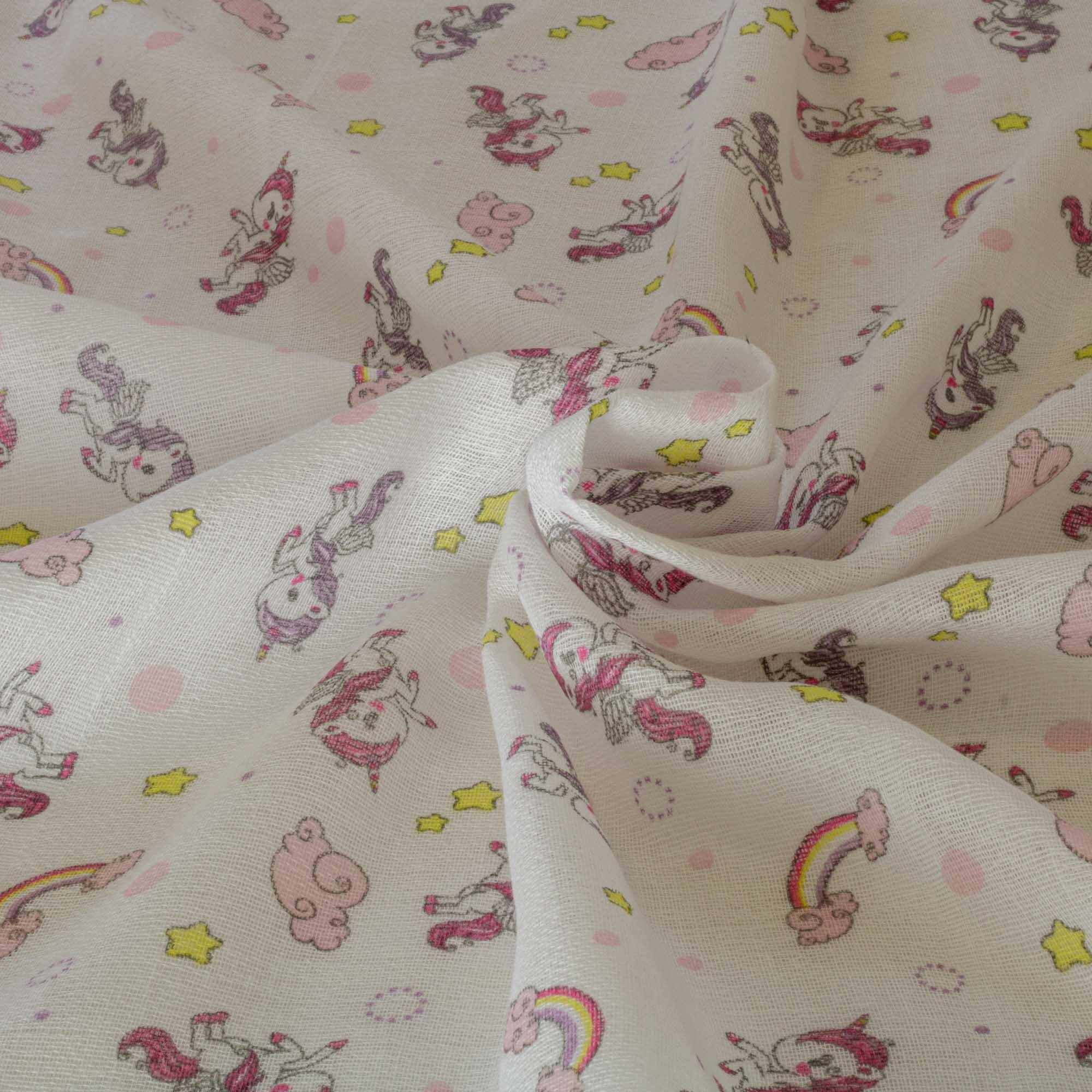Tecido fralda dupla dohler estampada 70cm x 70cm 100% algodão rosa