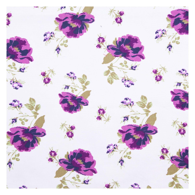 Tecido Fustao Estampado Flores Lilas 100% Algodão 1,40 m Largura