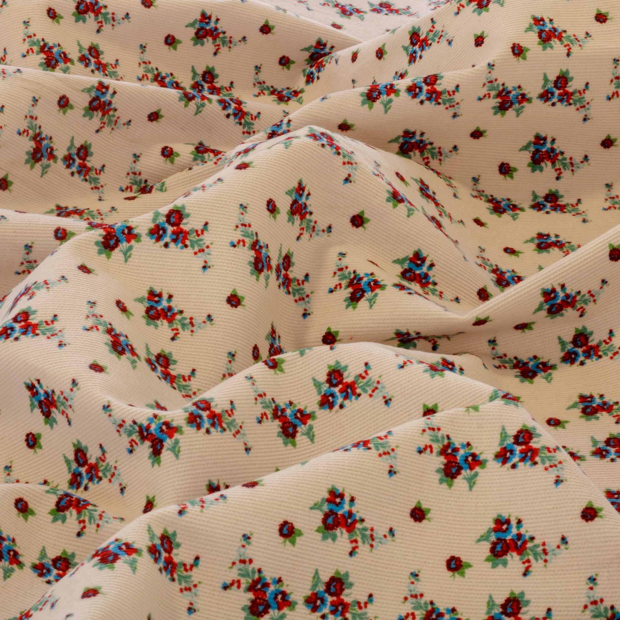 Tecido Fustao Estampado Florzinhas Vermelhas 100% Algodão 1,40 m Largura