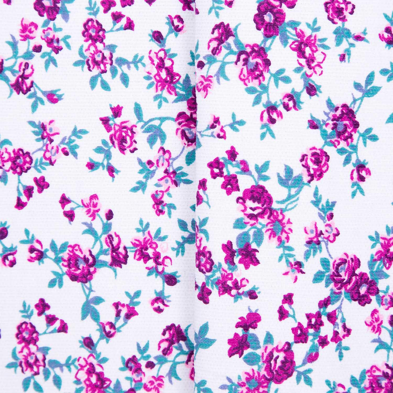 Tecido Fustao Estampado Flores Rosa 100% Algodão 1,40 m Largura