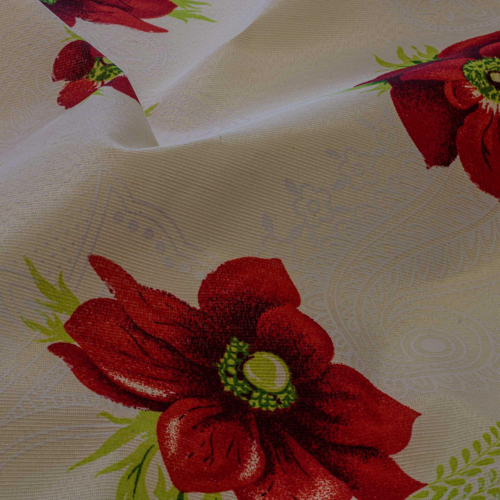 Tecido Gorgurinho Estampado 1,50 Mt Largura Flores Vermelhas