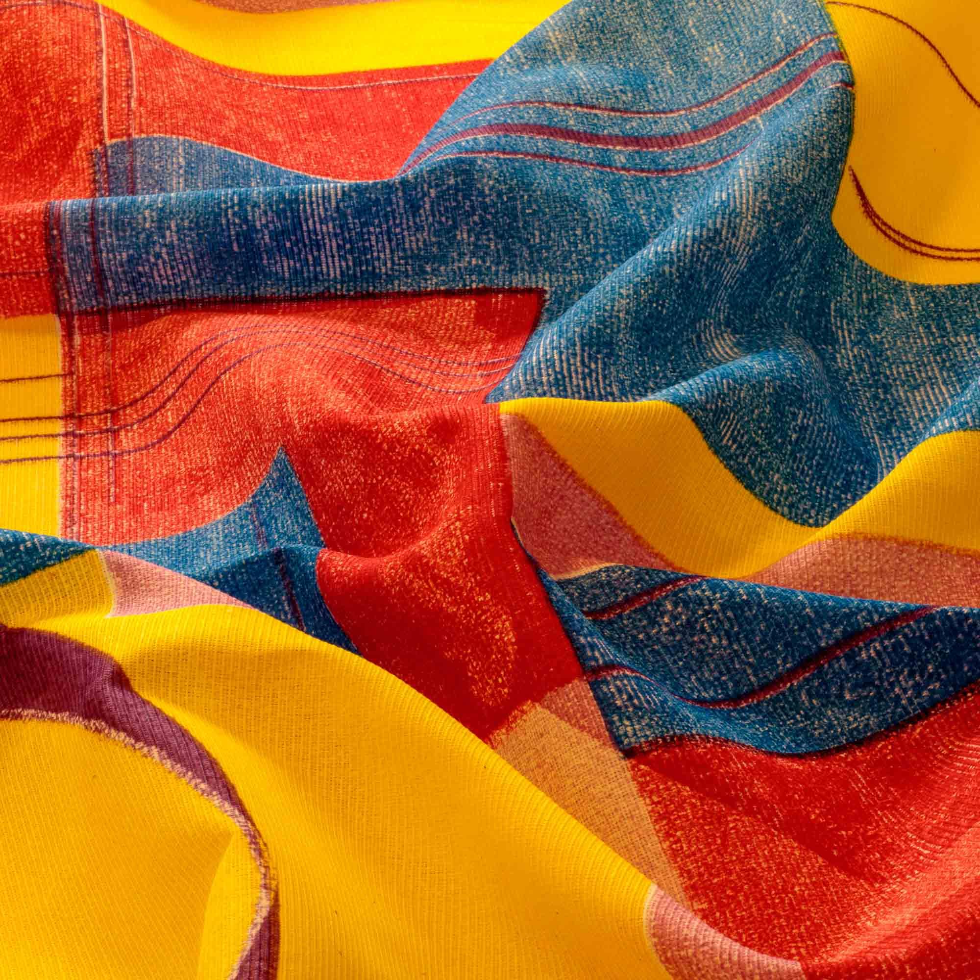 Tecido Gorgurinho Estampado Geometrico 1,50 m Largura Amarelo/cd