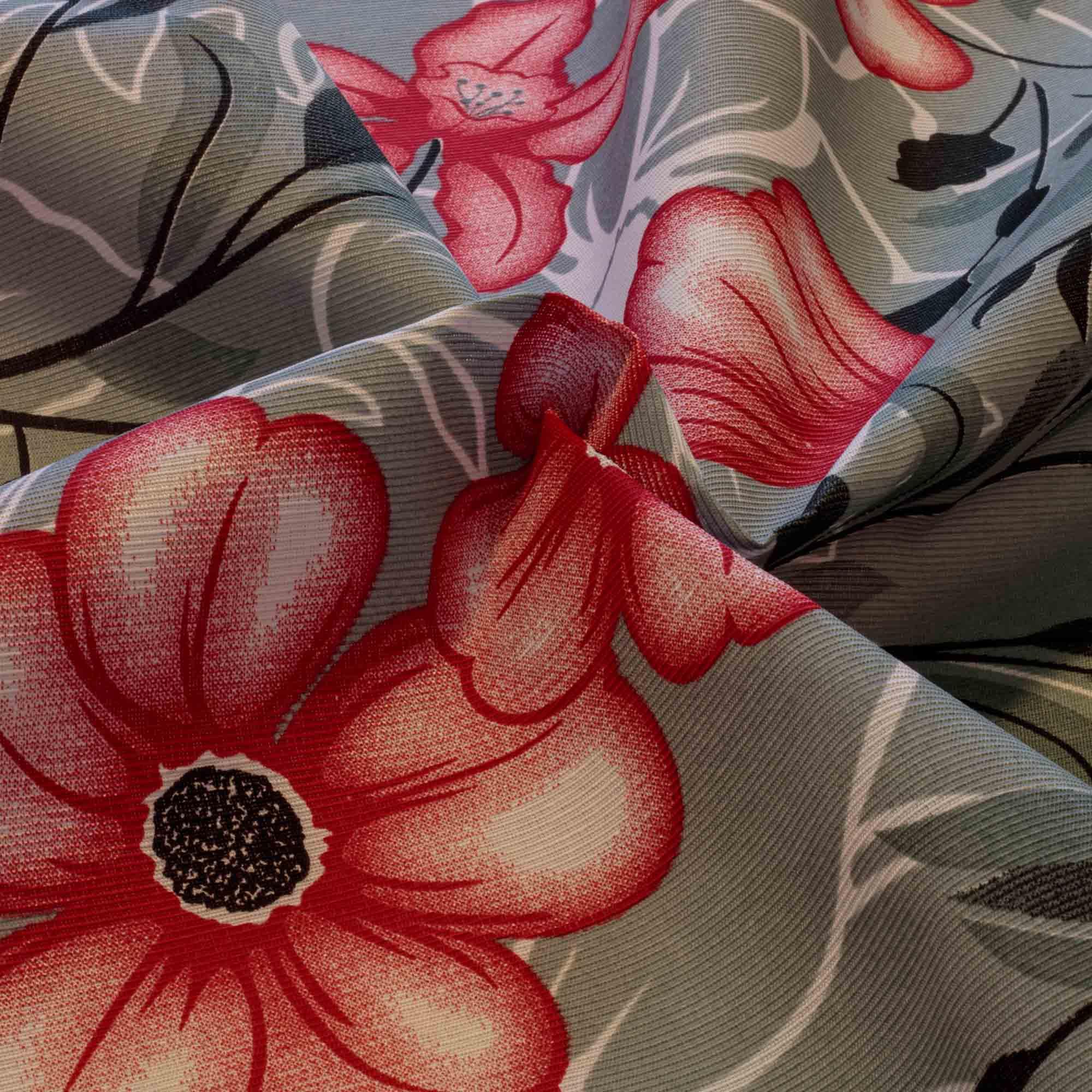 Tecido Gorgurinho Estampado Flores 1,50 Mt Largura Cinza
