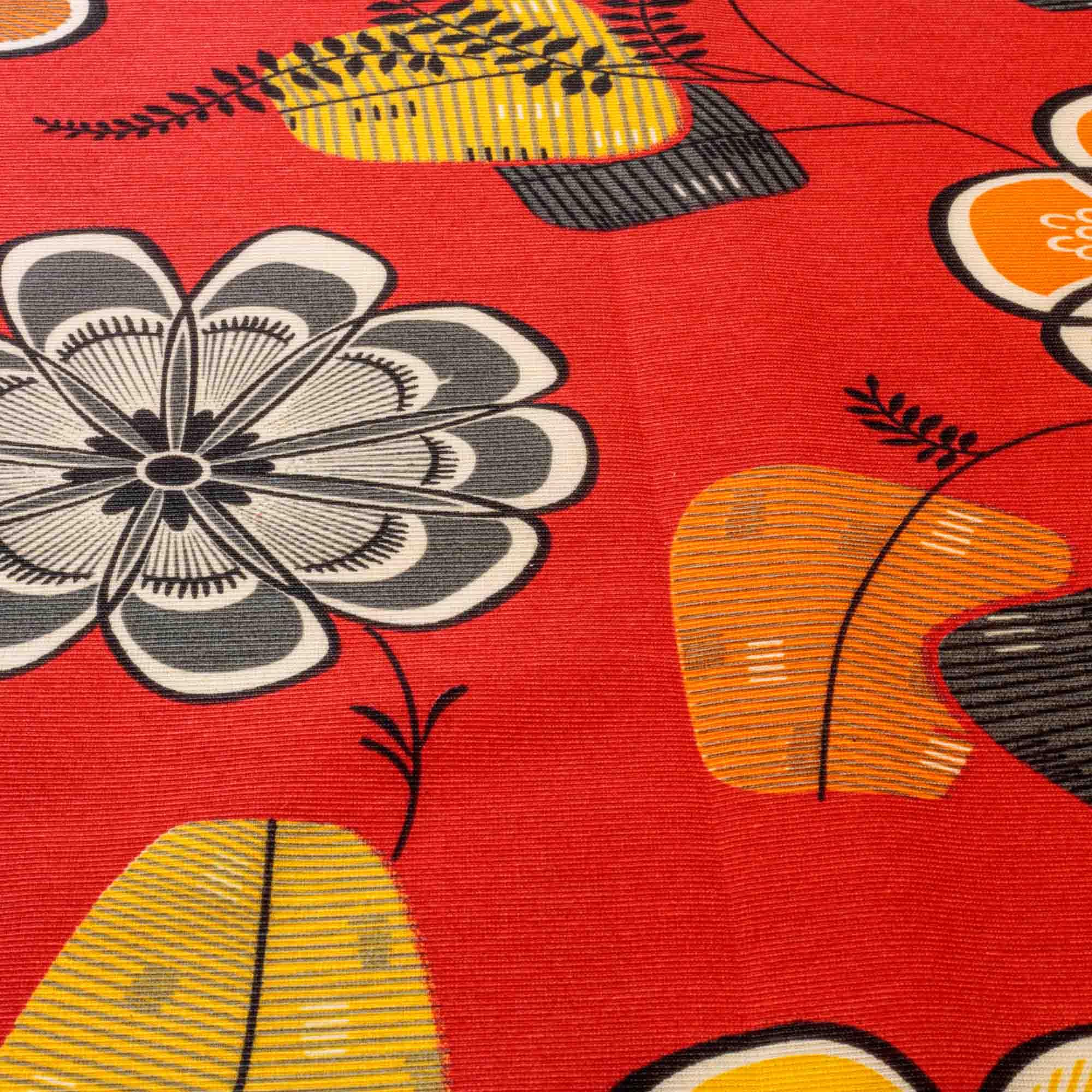 Tecido Gorgurinho Estampado Flores 1,50 Mt Largura Vermelho