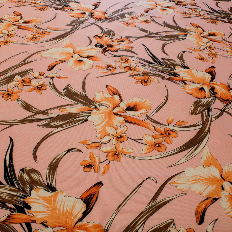 Tecido Gorgurinho Estampado Flores 1 Metro x 1,50 Mt Rosa