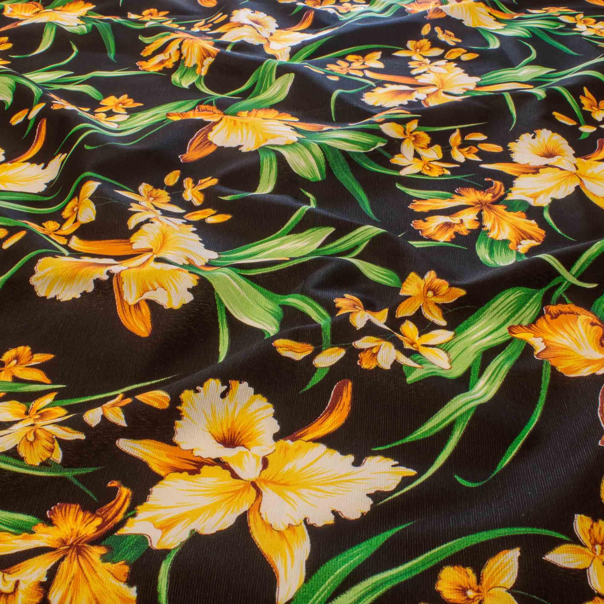 Tecido Gorgurinho Estampado Flores Amarelas 1,50 Mt Largura