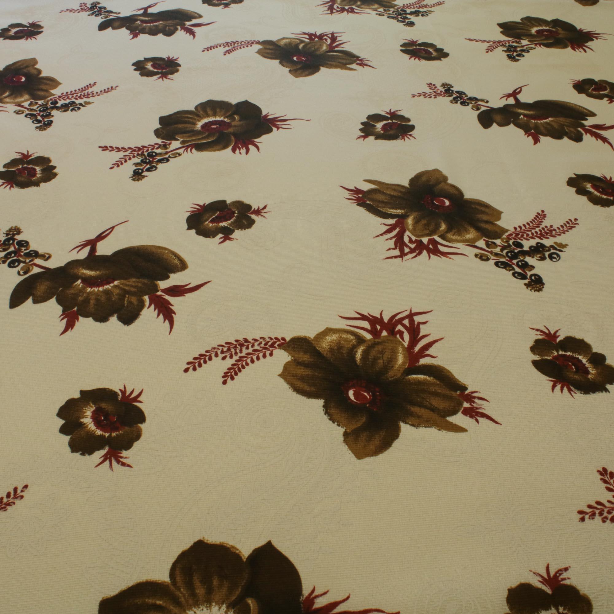 Tecido Gorgurinho Estampado Flores Marrom