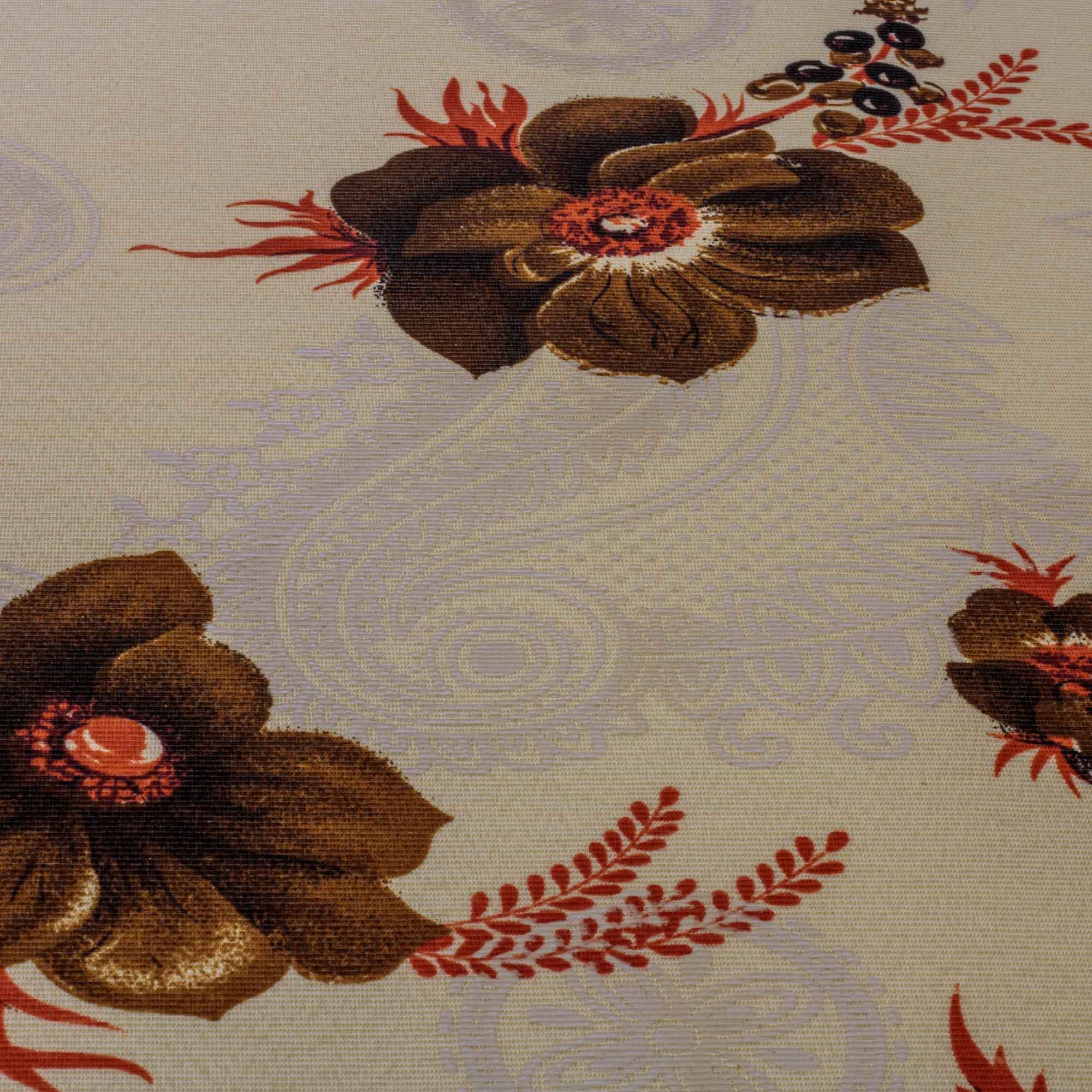 Tecido Gorgurinho Estampado Flores Marrom 1,50 Mt Largura