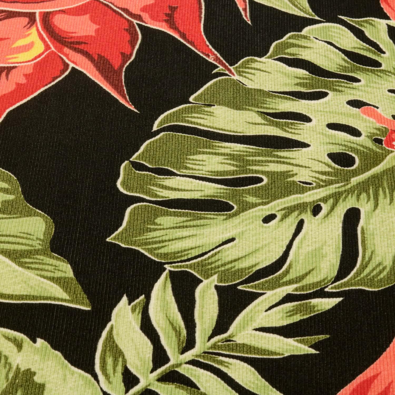Tecido Gorgurinho Estampado Folhas 1 Metro x 1,50 Mt Preto