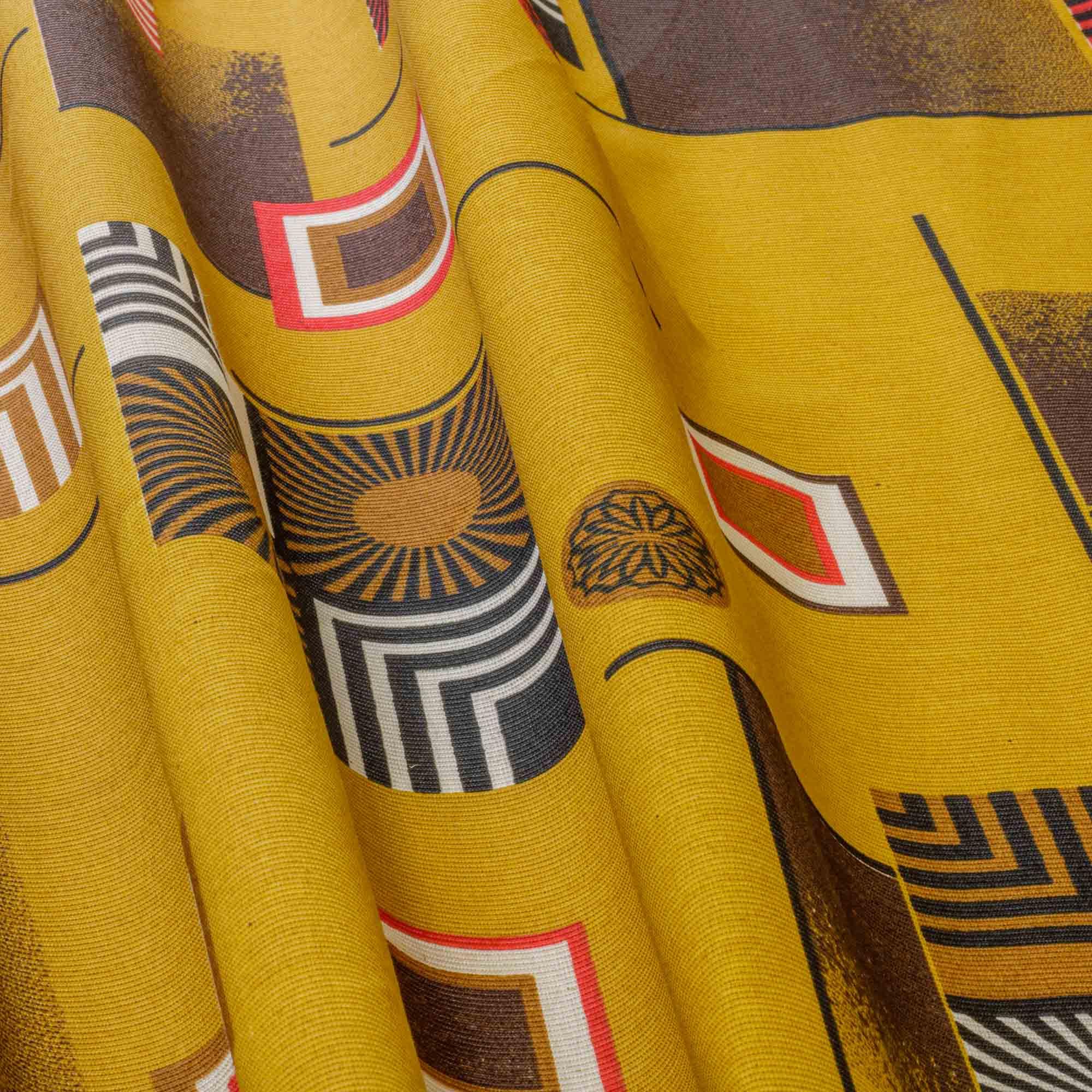 Tecido Gorgurinho Estampado Geometrico 1,50m Largura Amarelo