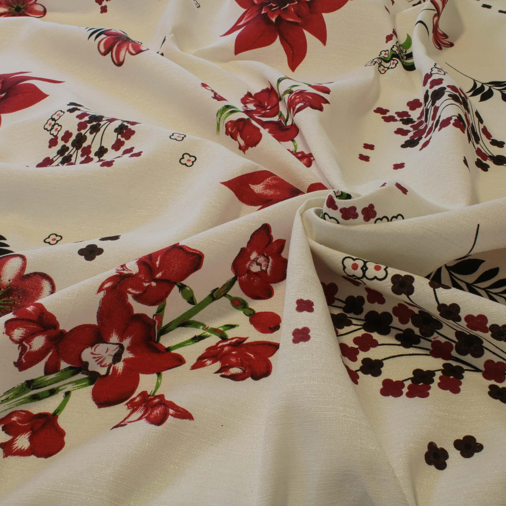 Tecido Linhão Cheffron Rústico Estampado Flores Vermelho