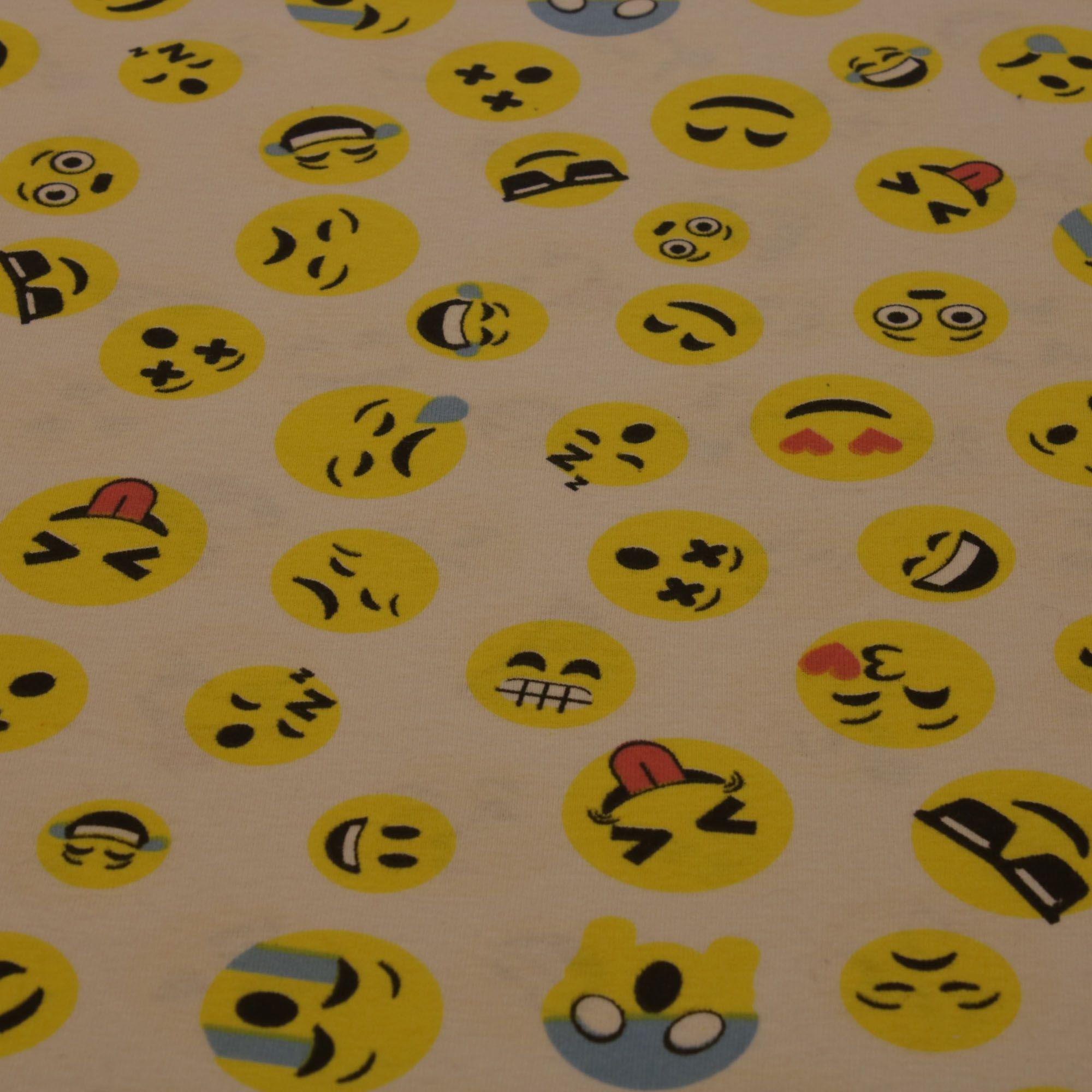 Tecido Malha de Algodão Estampada 100% Algodão Emoji
