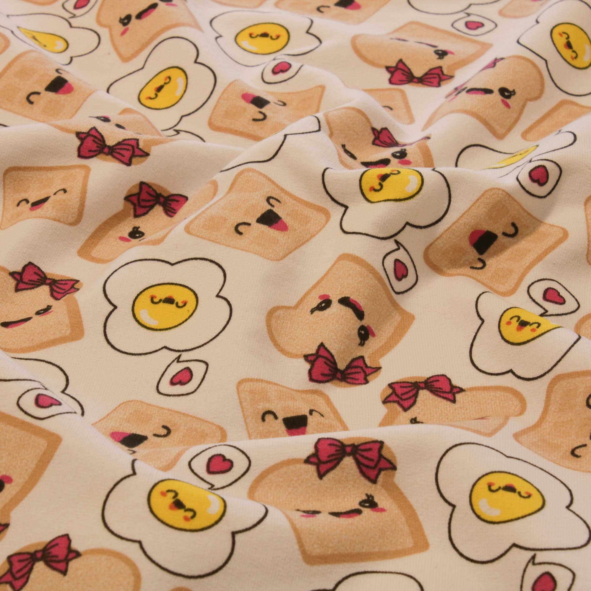 Tecido Malha de Algodão Estampada 100% Algodão Paozinho e Ovo