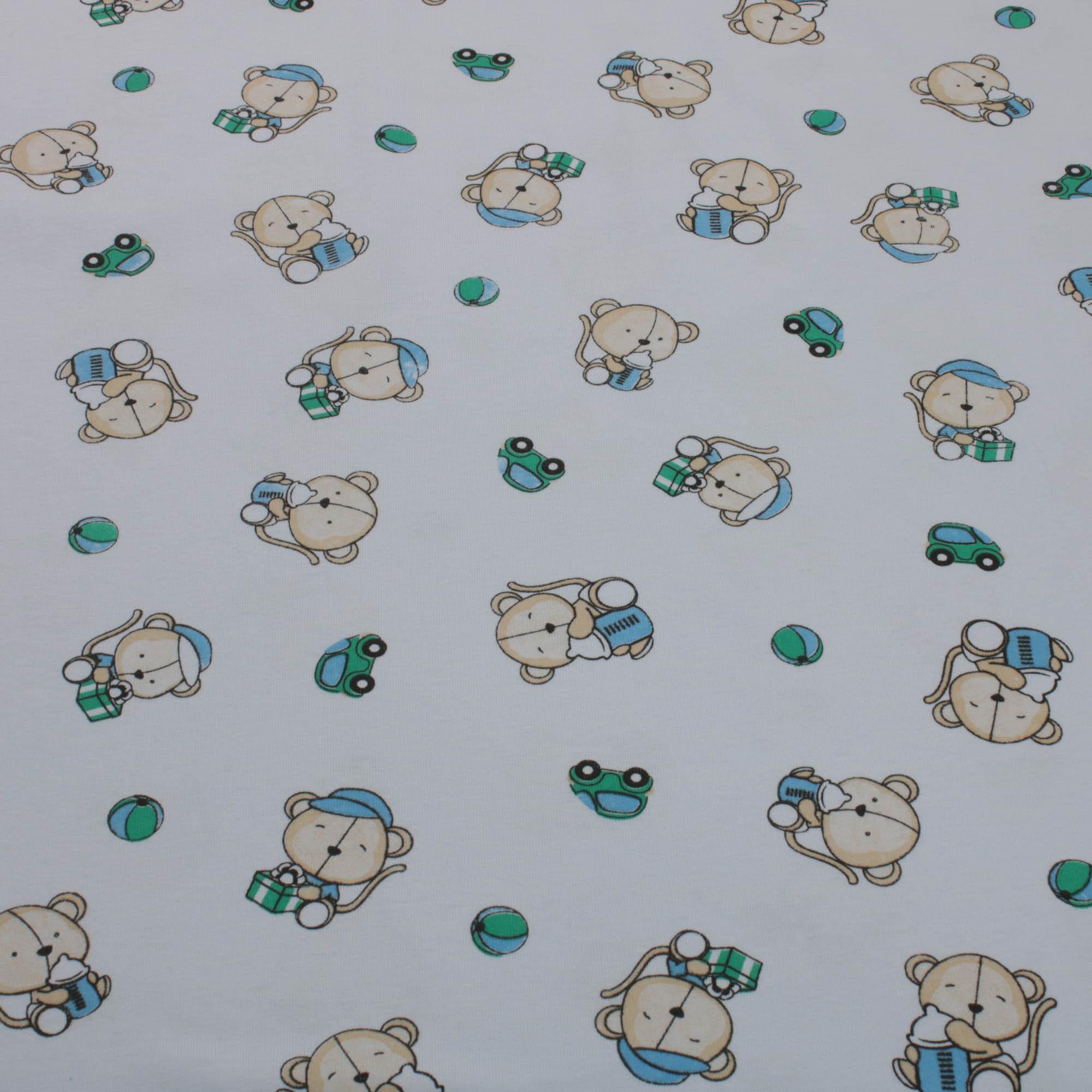 Tecido Malha de Algodão Estampada 100% Algodão Urso