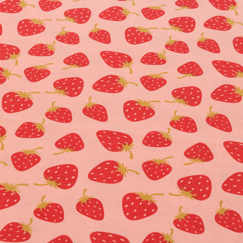 Tecido Malha de Algodão Estampada Morangos 100% Algodão Rosa