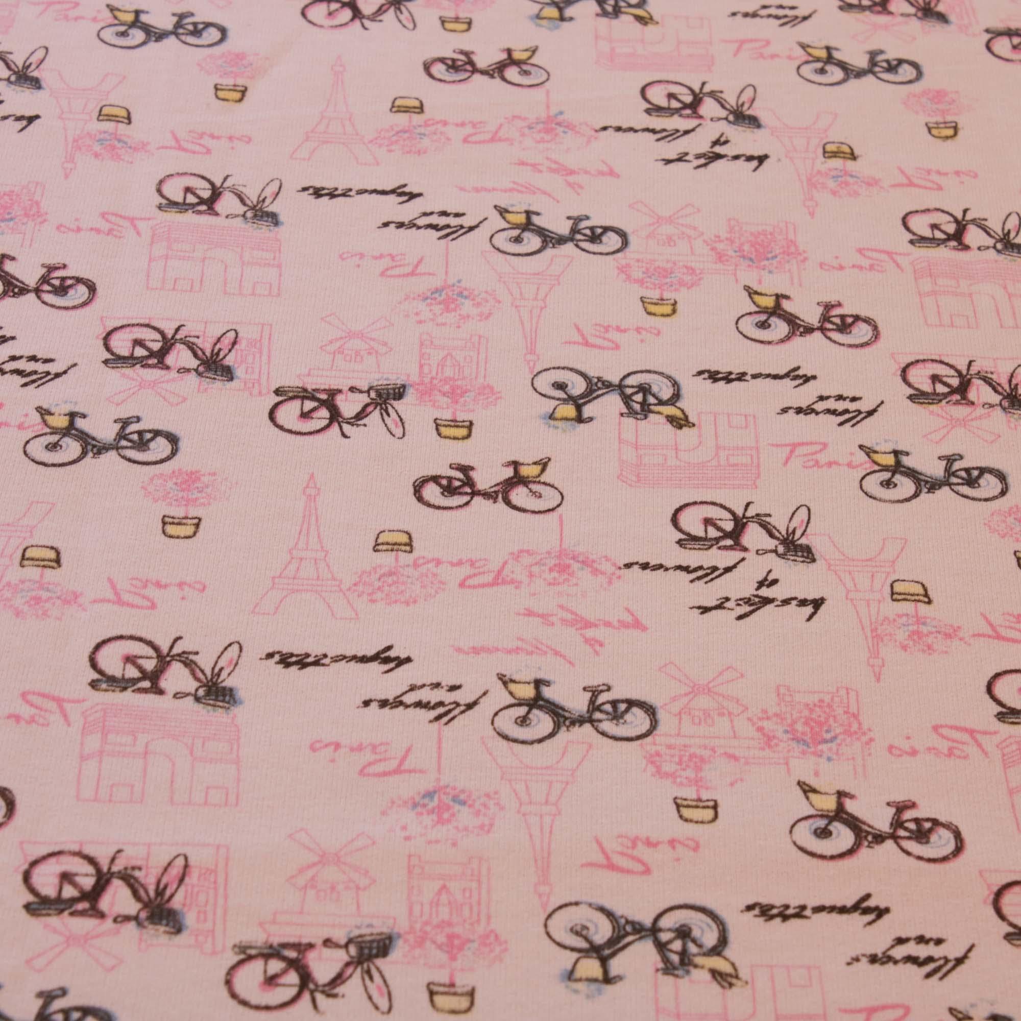 Tecido Moletinho Estampado 100% Algodão Bicicleta