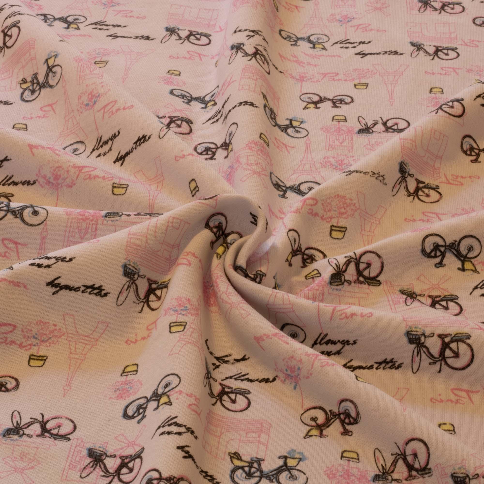 Tecido Moletinho Estampado 100% Algodão Bicicleta Rosa