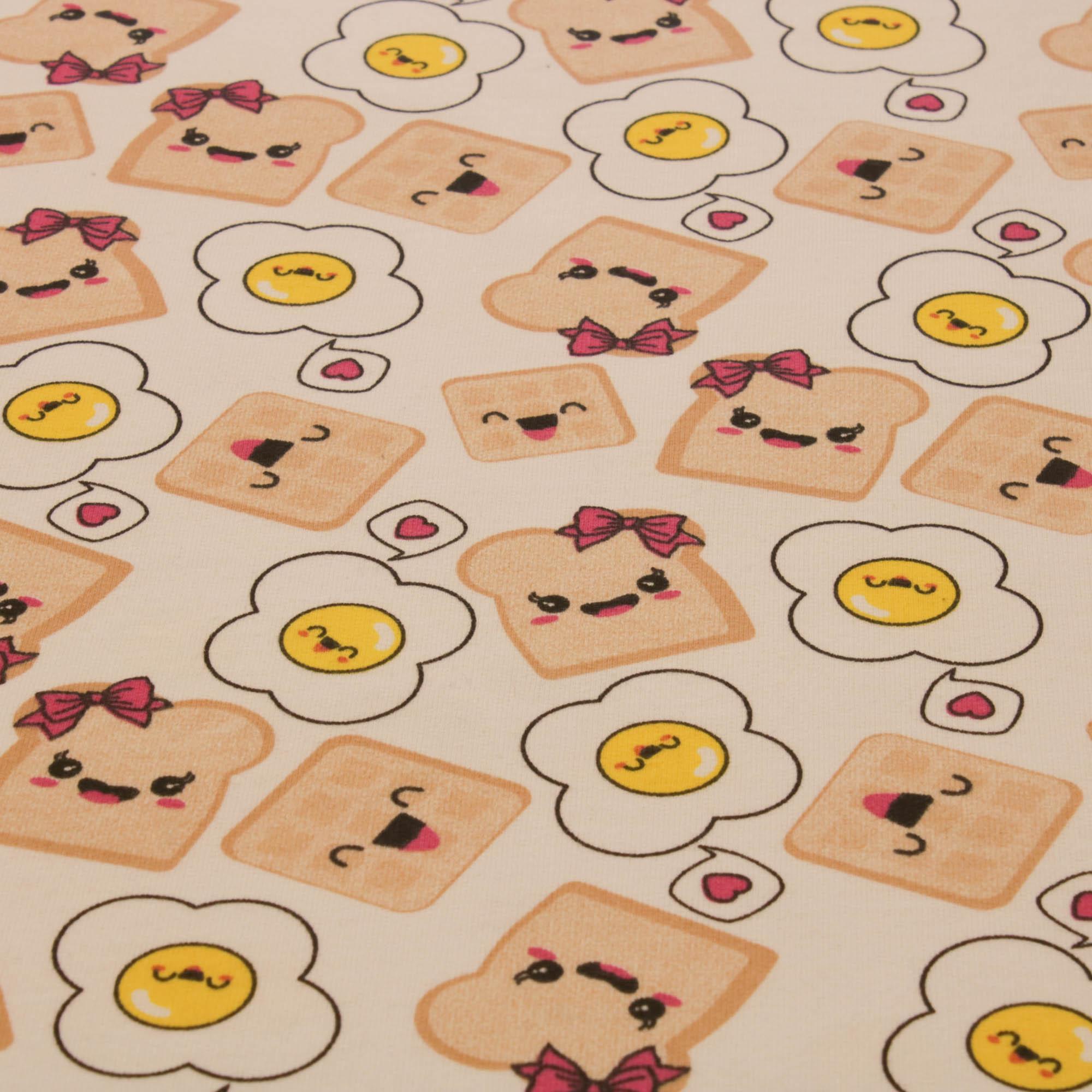 Tecido Moletinho Estampado 100% Algodão Paozinho Ovo