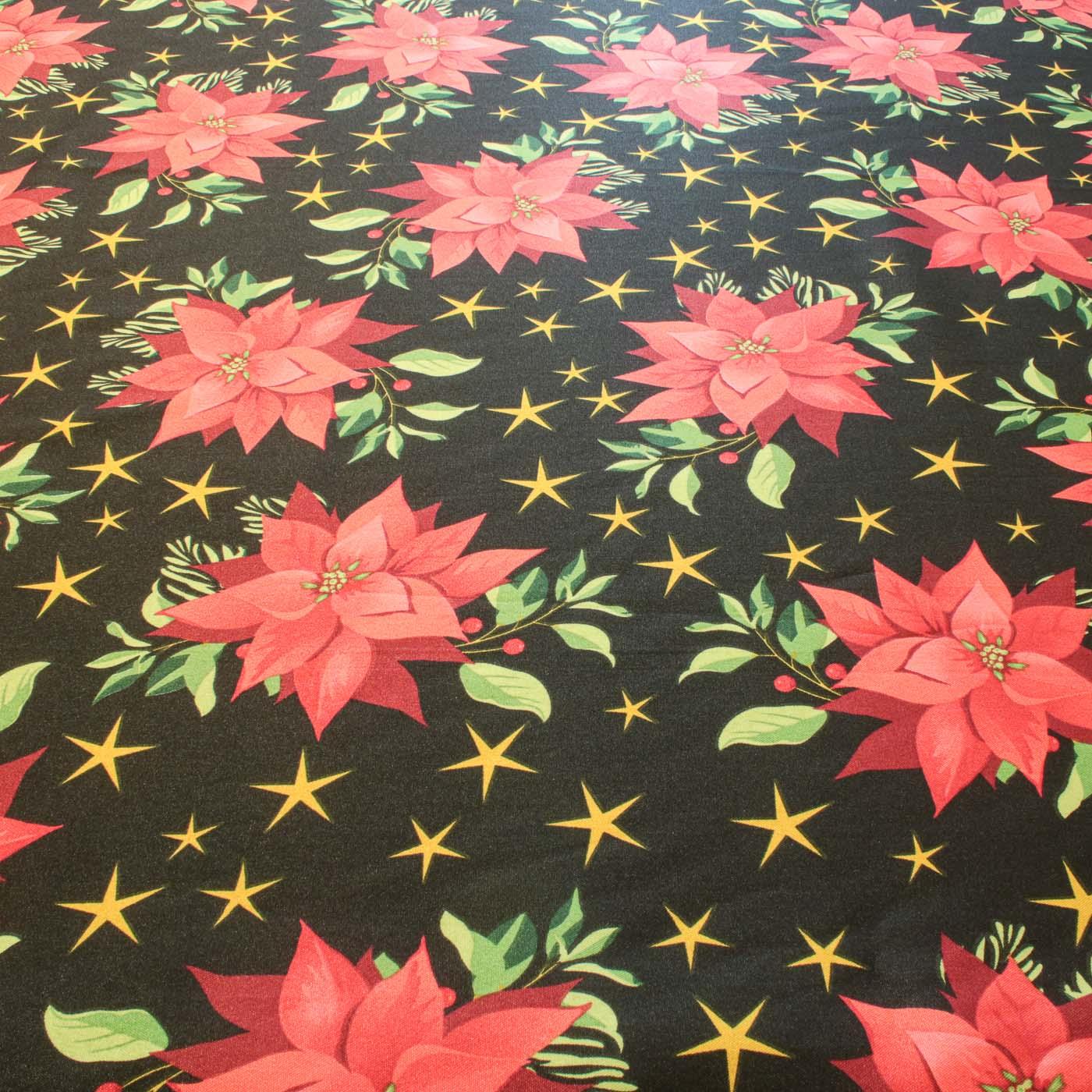 Tecido Oxford Estampado Natalino Flor Vermelha Natal - Preto