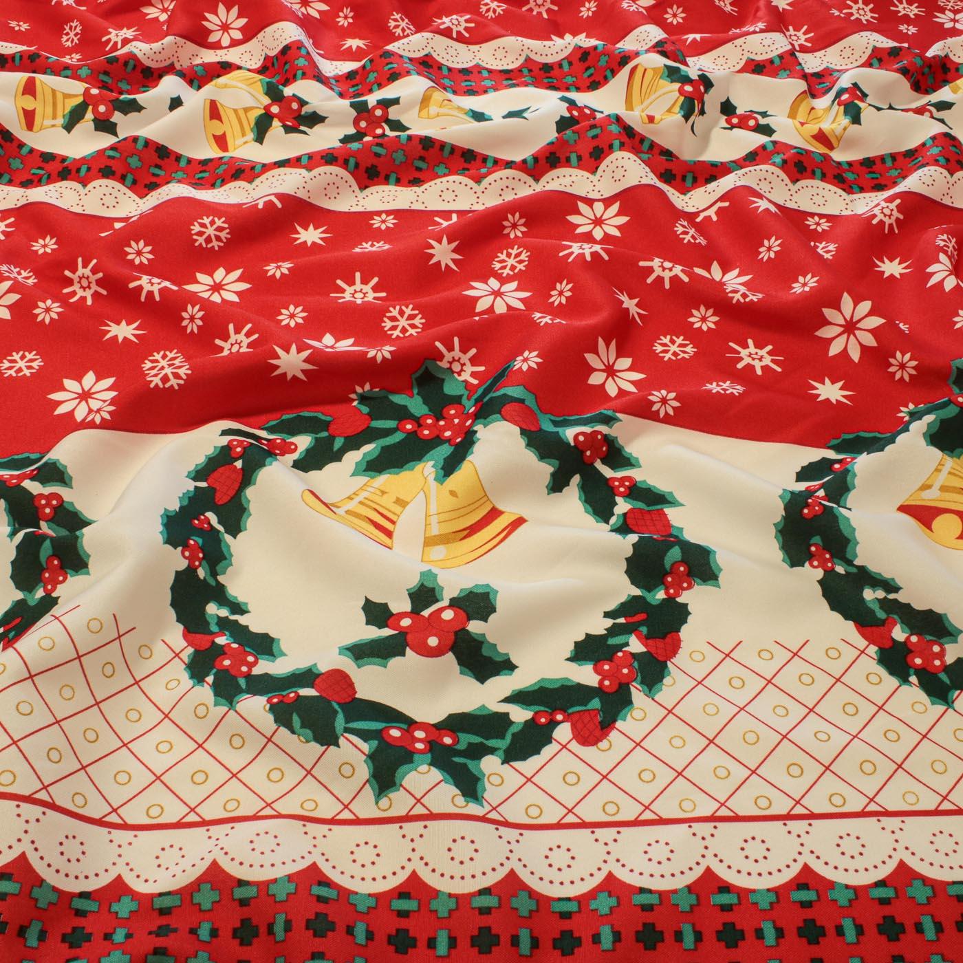 Tecido Oxford Estampado Natalino Natal Sinos Coroa Vermelha