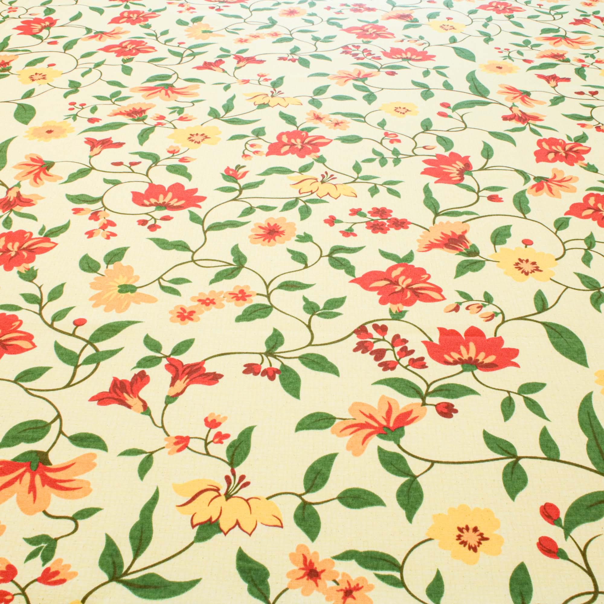 Tecido Para Decoração Estampado Flores 1,42m Largura Amarelo/Vermelho