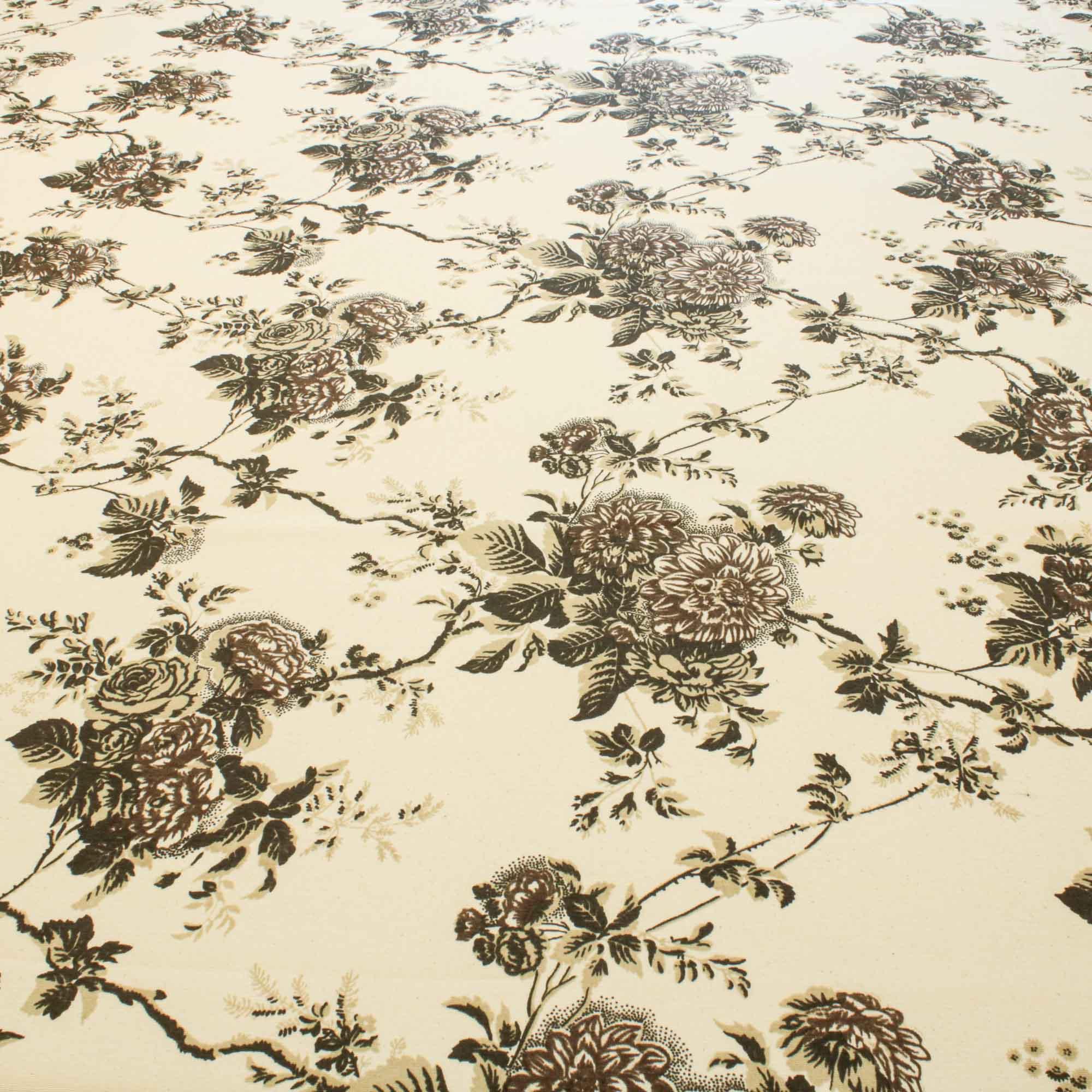 Tecido Para Decoração Estampado Flores e Ramos 1,42 Mt Largura Marrom