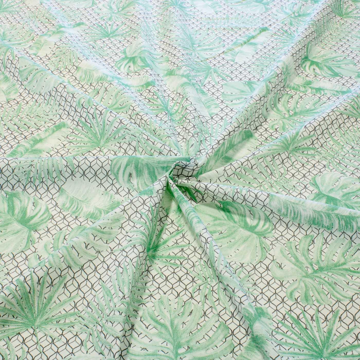 Tecido Percal Estampado 100% Algodão 2,50 m Largura Folhas Verdes