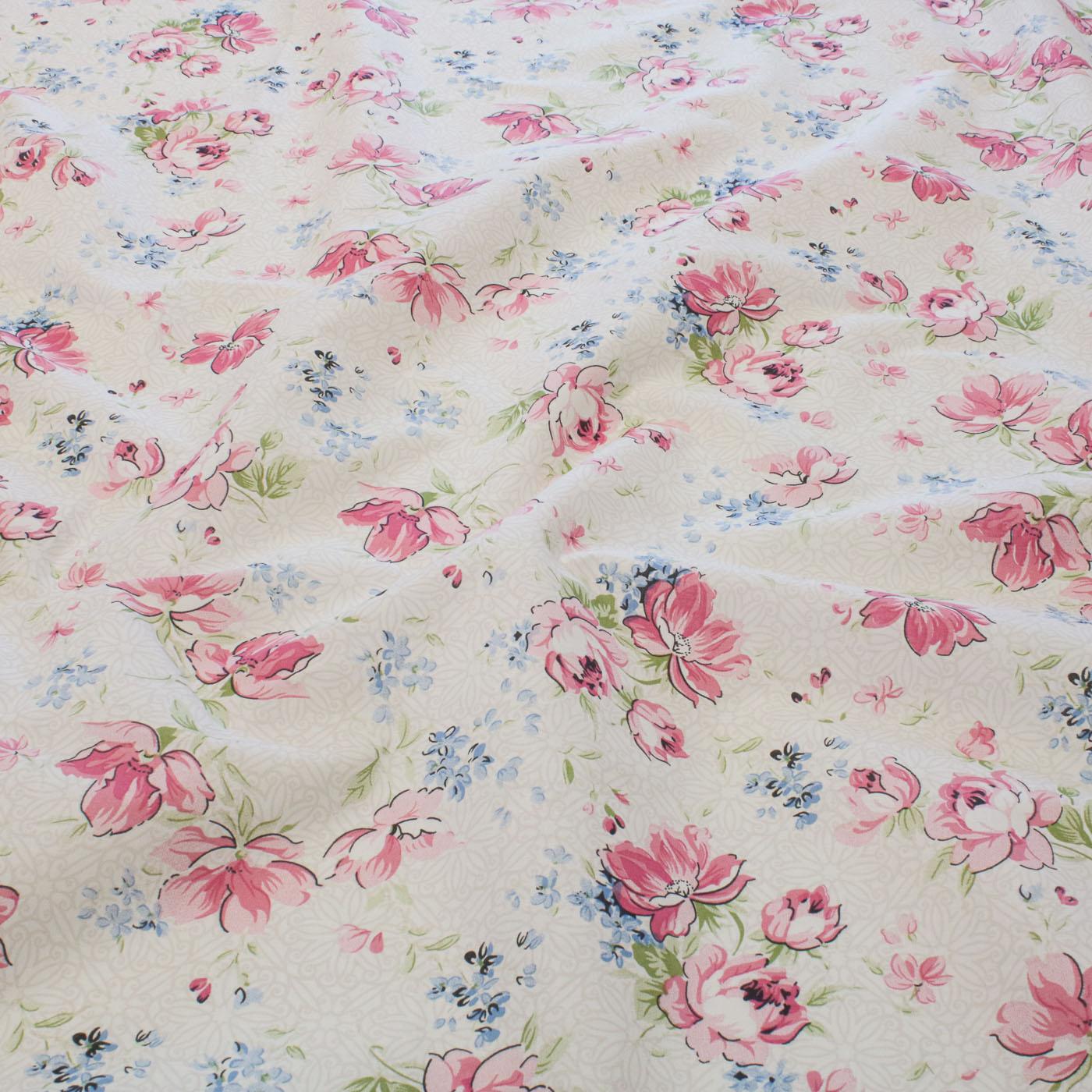 Tecido Percal Estampado 100% Algodão 2,50m Largura Flores Rosa