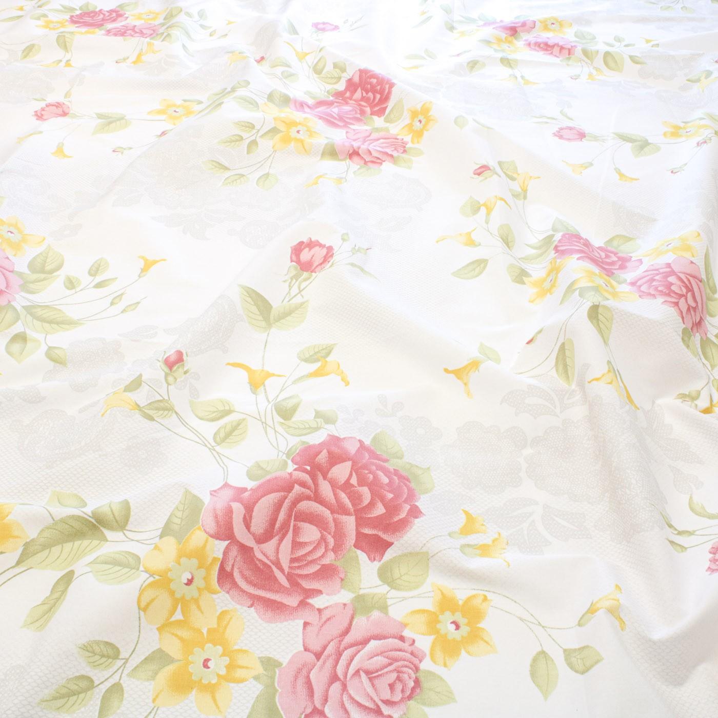 Tecido Percal Estampado 180 Fios 2,50m Flores Amarela e Rosa