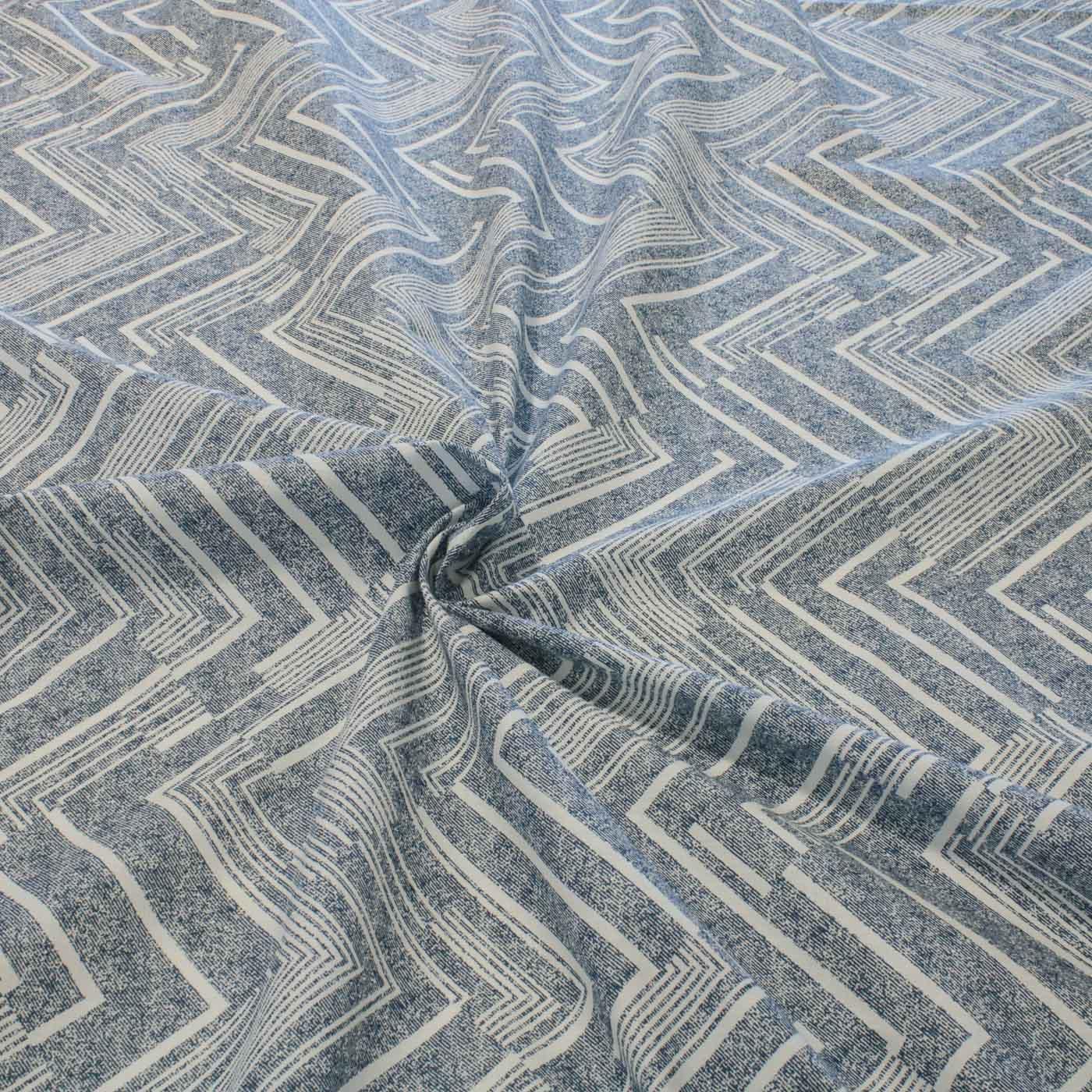 Tecido Percal Estampado Geometrico 2,55 m Largura Azul Jeans