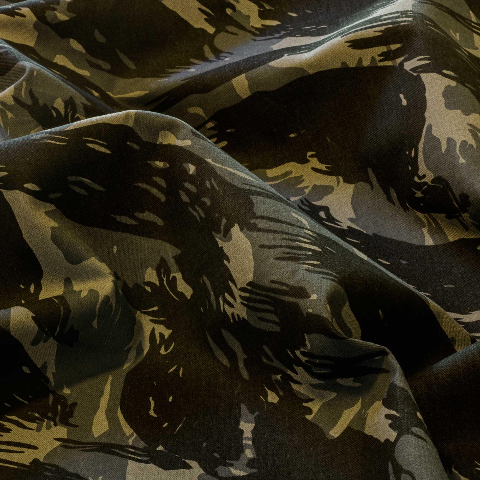 Tecido Sarja Camuflada Cinza Preto 100% Algodão 1,60 Mt Largura