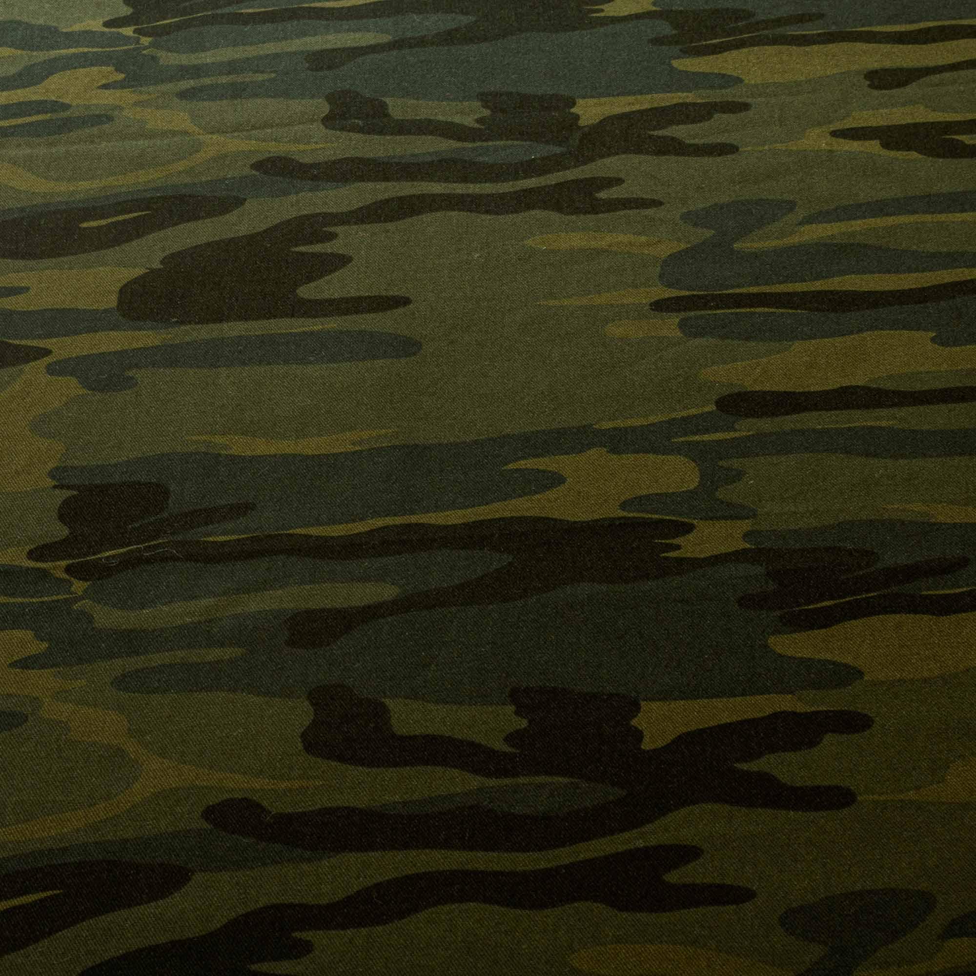 Tecido Sarja Camuflada Verde Exército 100% Algodão 1,60 Mt Largura