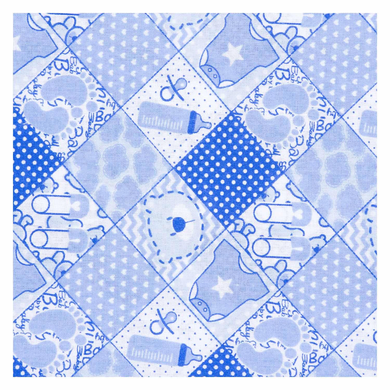 Tecido Tricoline Infantil Misto Estampado Azul Bebe 50% Algodao 50% Poliester 1,40 m Largura