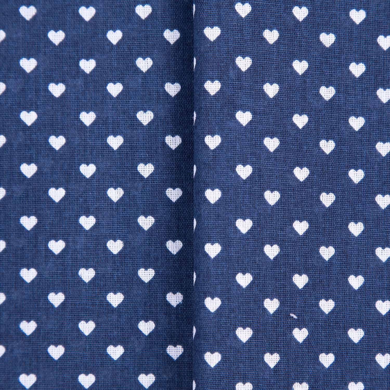 Tecido Tricoline Misto Estampado Coração Branco Fundo Azul Marinho 50% Algodao 50% Poliester 1,40 Mt Largura
