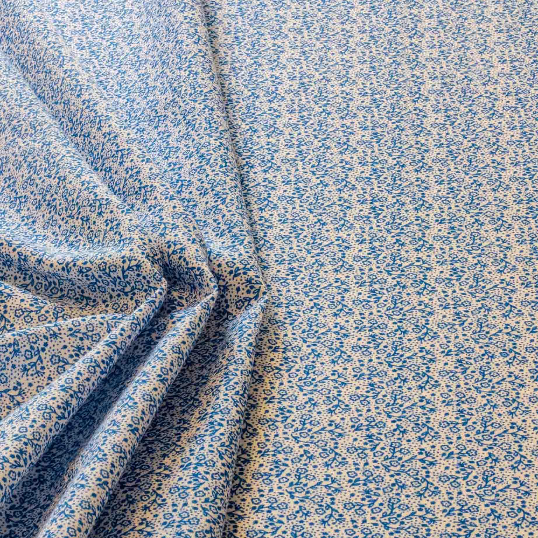 Tecido Tricoline Misto Estampado Florzinha Azul 50% Algodao 50% Poliester 1,40 m Largura