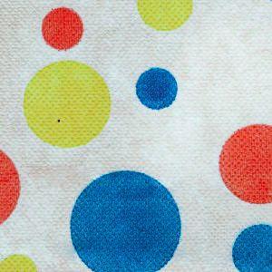 Tecido TNT Estampado Fundo Branco Bolas Coloridas 100% Polipropileno 1,40 Mt Largura