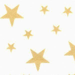 Tecido TNT Estampado Fundo Branco Estrelas Douradas 100% Polipropileno 1,40 Mt Largura