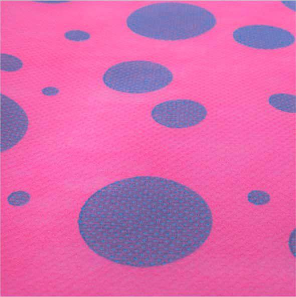 Tecido TNT Estampado Fundo Pink Bolas Azuis 100% Polipropileno 1,40 Mt Largura