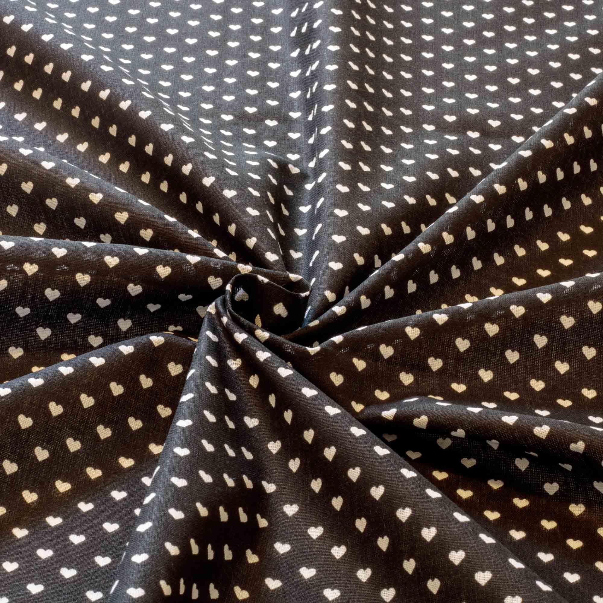Tecido tricoline coração 50% algodão 50% poliéster preto